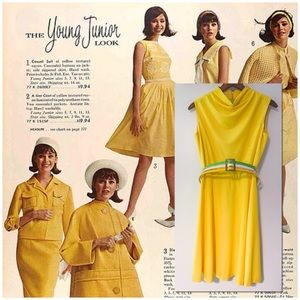Vtg 60's Mod Yellow Dress